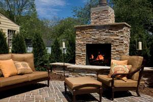 Outdoor Brown Sofa near Fire