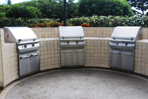 Outdoor barbecue area with stainless steel gas BBQ grills
