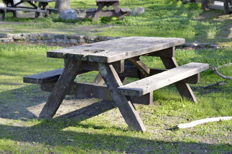 Wooden picnic table.